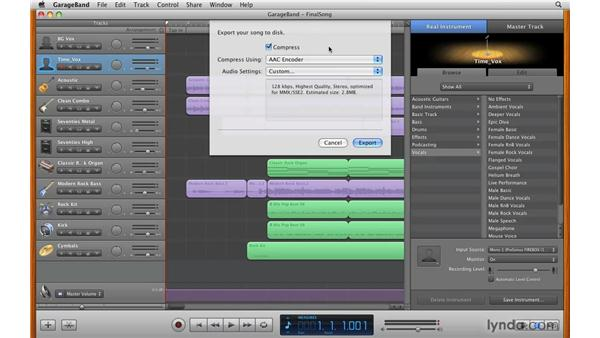 Exporting to disk: GarageBand '09 Essential Training