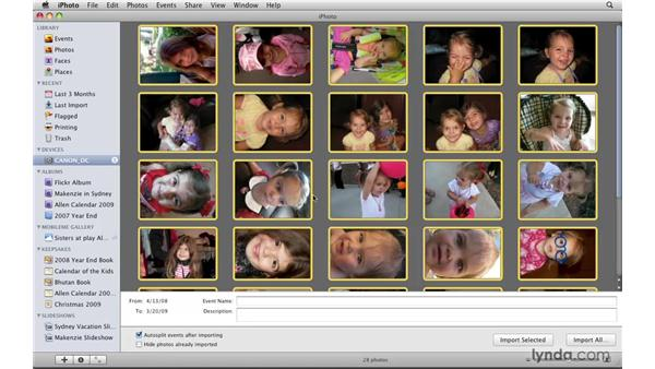 Importing images from a camera: iPhoto '09 Essential Training