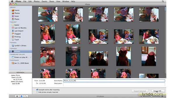 Importing images from an iPhone: iPhoto '09 Essential Training