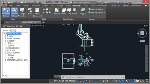 Associative hides with structure: AutoCAD Mechanical Essential Training