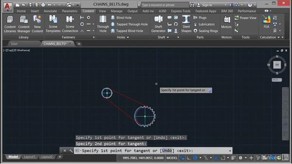 Using chains and belts: AutoCAD Mechanical Essential Training