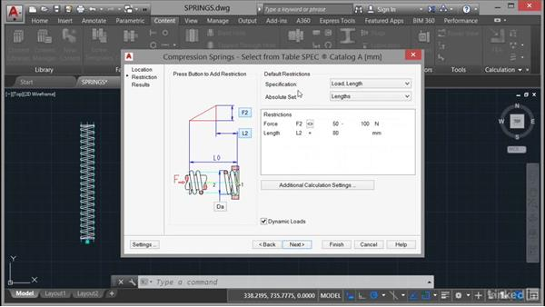 Inserting springs into a drawing: AutoCAD Mechanical Essential Training
