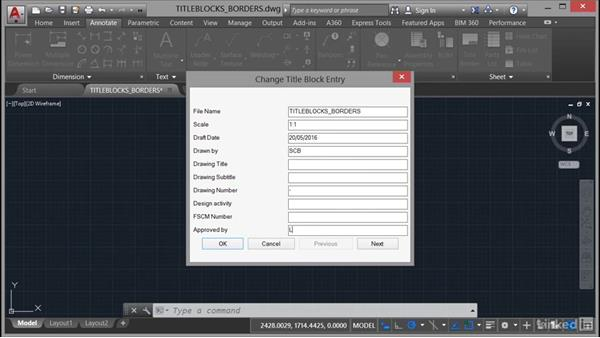 Inserting title blocks and borders: AutoCAD Mechanical Essential Training
