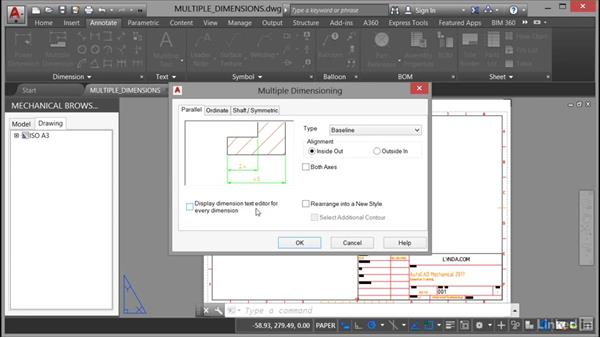 Placing multiple dimensions: AutoCAD Mechanical Essential Training
