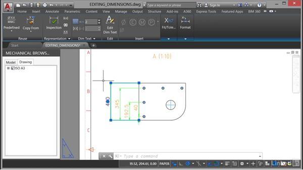Editing dimensions: AutoCAD Mechanical Essential Training