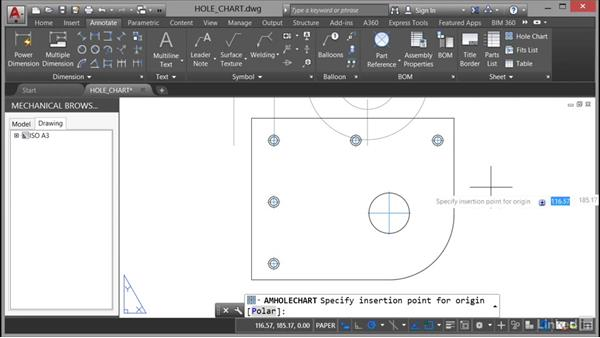 Adding hole charts and fits lists: AutoCAD Mechanical Essential Training