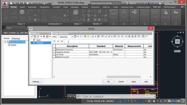 Creating and editing a bill of materials with structure: AutoCAD Mechanical Essential Training