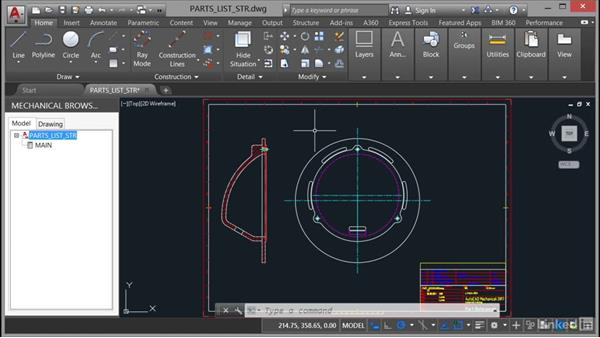 Inserting and editing a parts list with structure: AutoCAD Mechanical Essential Training