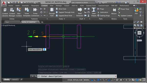 Calculating moments of inertia: AutoCAD Mechanical Essential Training