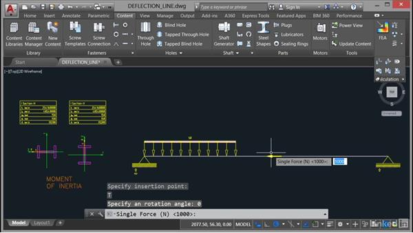 Calculating the deflection line: AutoCAD Mechanical Essential Training