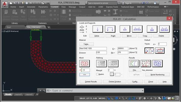 Calculating FEA stresses: AutoCAD Mechanical Essential Training