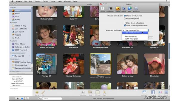 Understanding event preferences: iPhoto '09 Essential Training