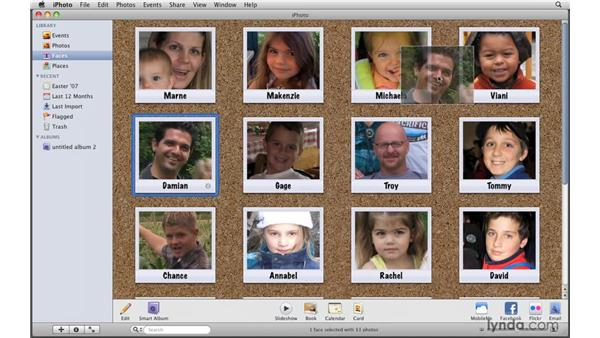 Reviewing the Faces feature: iPhoto '09 Essential Training