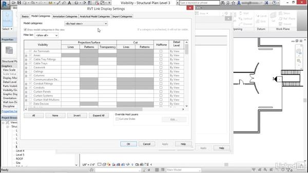 Control the visibility for linked objects: Cert Prep: Revit Structure Certified Professional