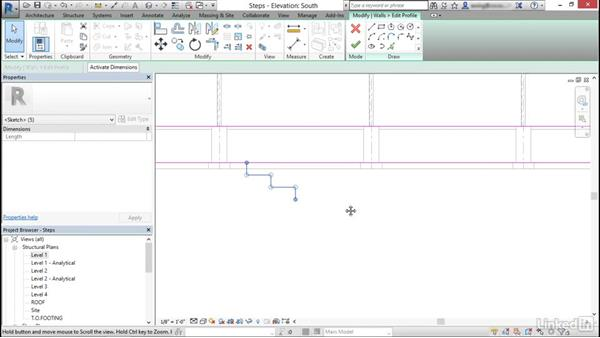 Create and modify stepped walls in foundations: Cert Prep: Revit Structure Certified Professional
