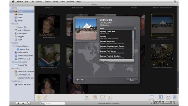 Adding missing places: iPhoto '09 Essential Training