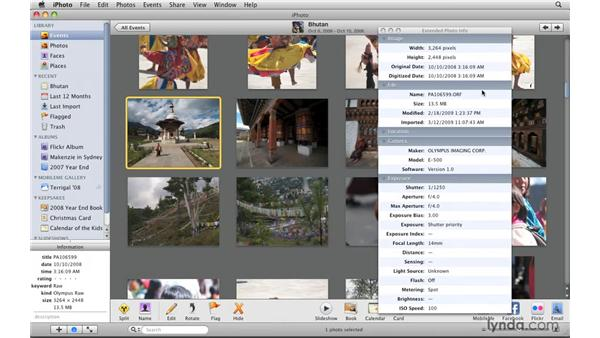 Exploring metadata in the Photo Info panel: iPhoto '09 Essential Training