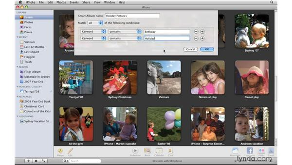 Searching by keyword: iPhoto '09 Essential Training
