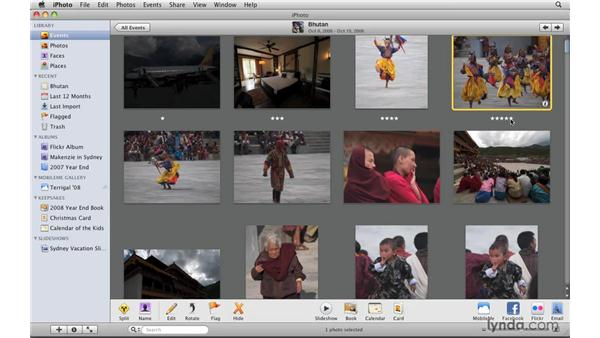 Rating and searching by ratings: iPhoto '09 Essential Training