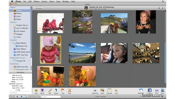 Rotating and straightening photos: iPhoto '09 Essential Training