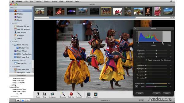 Using the histogram: iPhoto '09 Essential Training
