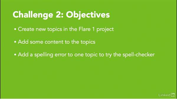 Challenge 2: Create new topics: MadCap Flare 11 Essential Training