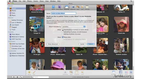 Creating a MobileMe gallery: iPhoto '09 Essential Training