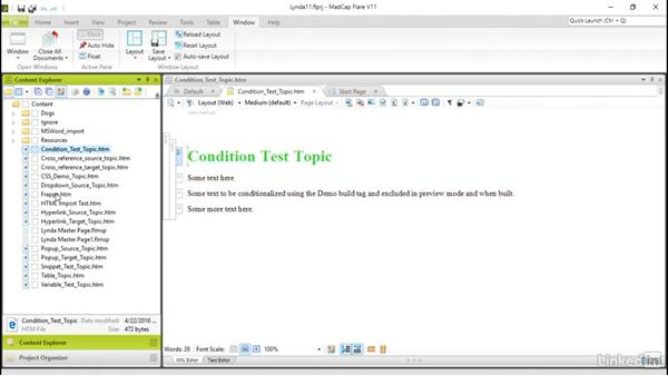 Conditional build tag use: MadCap Flare 11 Essential Training
