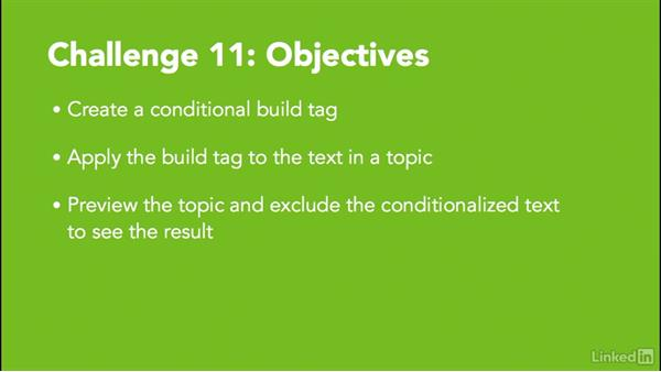 Challenge 11: Create a conditional build tag: MadCap Flare 11 Essential Training