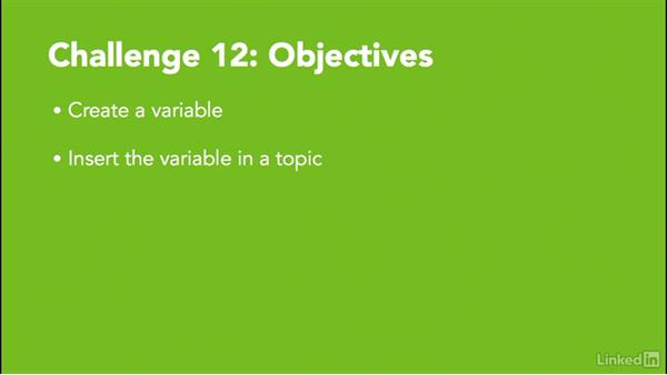 Challenge 12: Create a variable: MadCap Flare 11 Essential Training