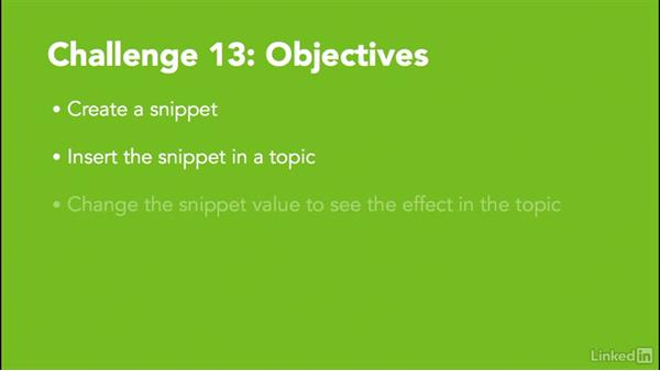 Challenge 13: Create a snippet: MadCap Flare 11 Essential Training