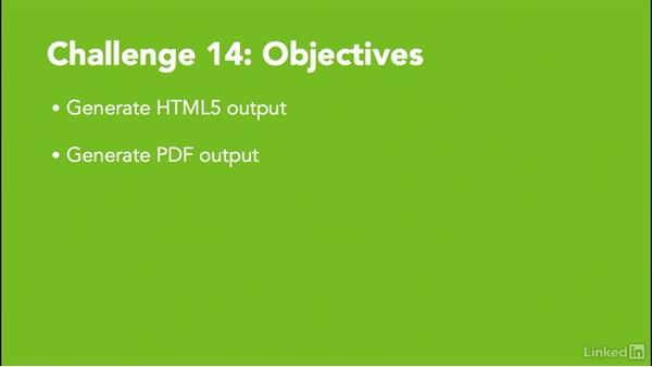Challenge 14: Generate HTML5 and PDF outputs: MadCap Flare 11 Essential Training