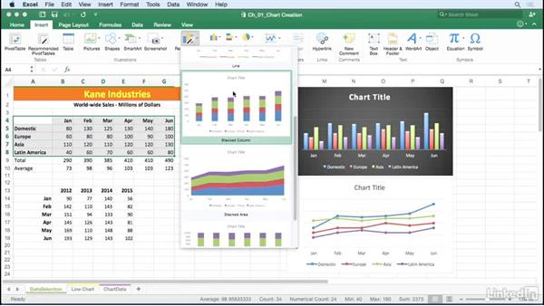 Use the Recommended Charts options: Excel for Mac 2016: Charts in Depth