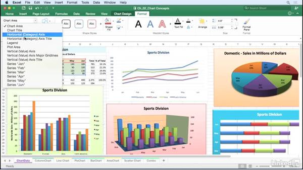 Identify chart elements: Excel for Mac 2016: Charts in Depth