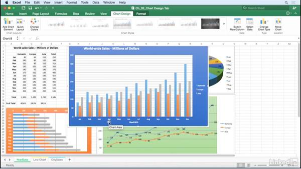 Add titles, labels, gridlines and other chart elements: Excel for Mac 2016: Charts in Depth