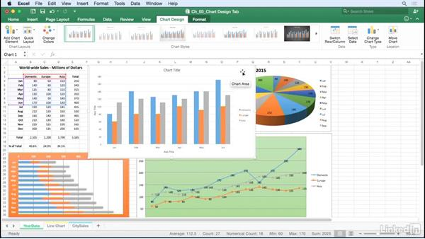 Choose a chart layout from the Quick Layout button: Excel for Mac 2016: Charts in Depth