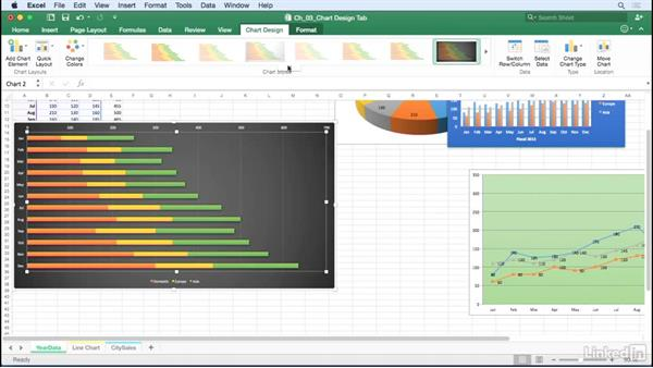 Select chart colors and chart styles: Excel for Mac 2016: Charts in Depth