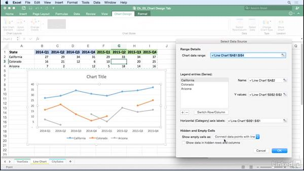 Adjust chart settings to manage empty and hidden cells: Excel for Mac 2016: Charts in Depth