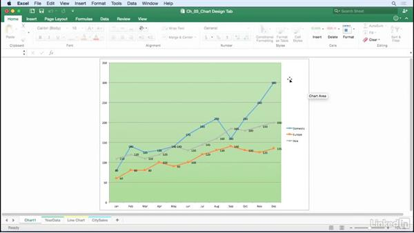 Change the location of a chart: Excel for Mac 2016: Charts in Depth