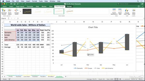 Add drop lines, up/down bars, and high-low lines: Excel for Mac 2016: Charts in Depth
