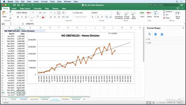 Analyze existing and projected data with trendlines: Excel for Mac 2016: Charts in Depth