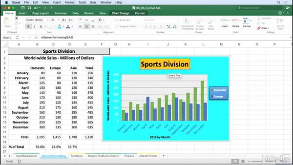 Explore chart element formatting: Fill, outline, and effects: Excel for Mac 2016: Charts in Depth