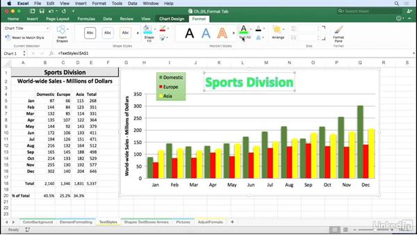 Alter chart text styles: Fill, line, and effects: Excel for Mac 2016: Charts in Depth