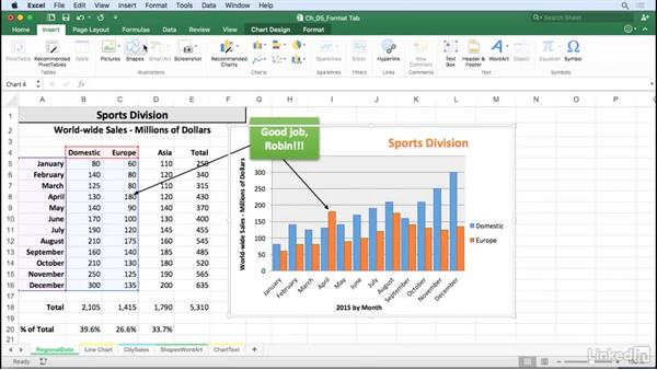 Add shapes, text boxes, and arrows; add text and apply styles: Excel for Mac 2016: Charts in Depth