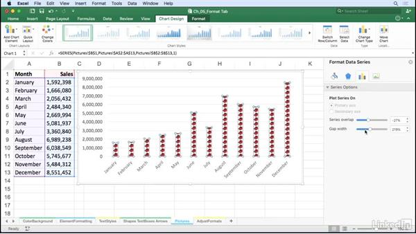 Use pictures as chart elements: Excel for Mac 2016: Charts in Depth