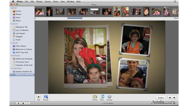 Working with a slideshow project: iPhoto '09 Essential Training
