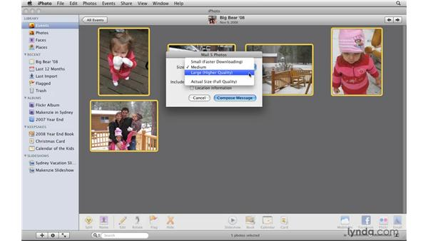 Attaching photos to email: iPhoto '09 Essential Training