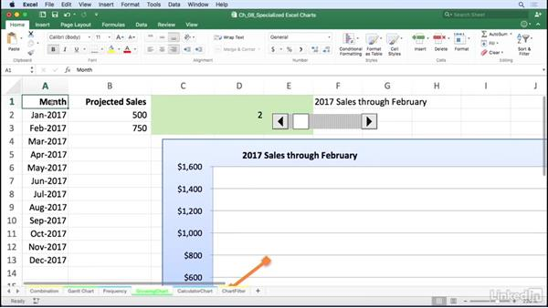 Use Developer tab controls to create dynamic charts: Excel for Mac 2016: Charts in Depth