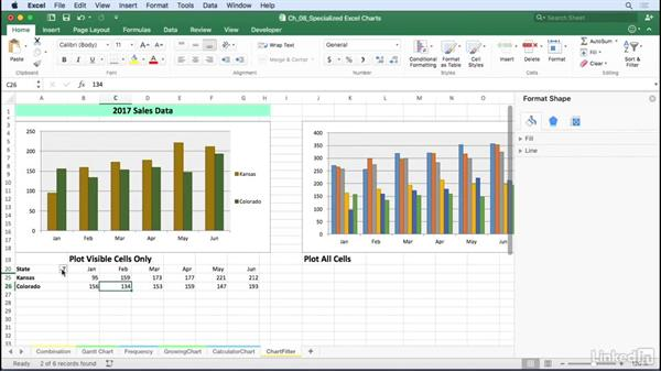 Produce dynamic charts by using filters: Excel for Mac 2016: Charts in Depth