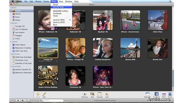 Setting a photo as the desktop image: iPhoto '09 Essential Training